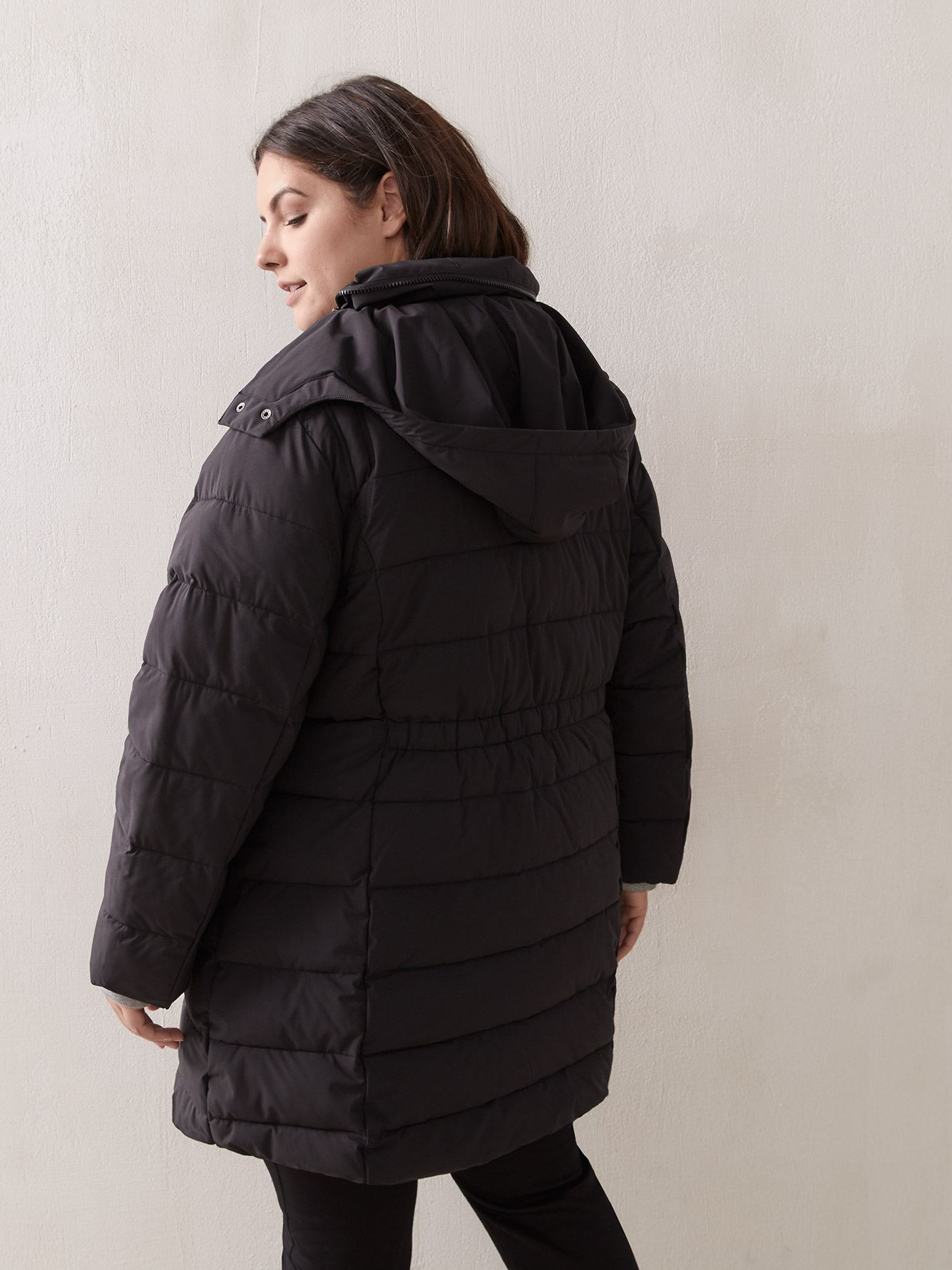 Knee-Length Puffer with Concealed Hood - In Every Story