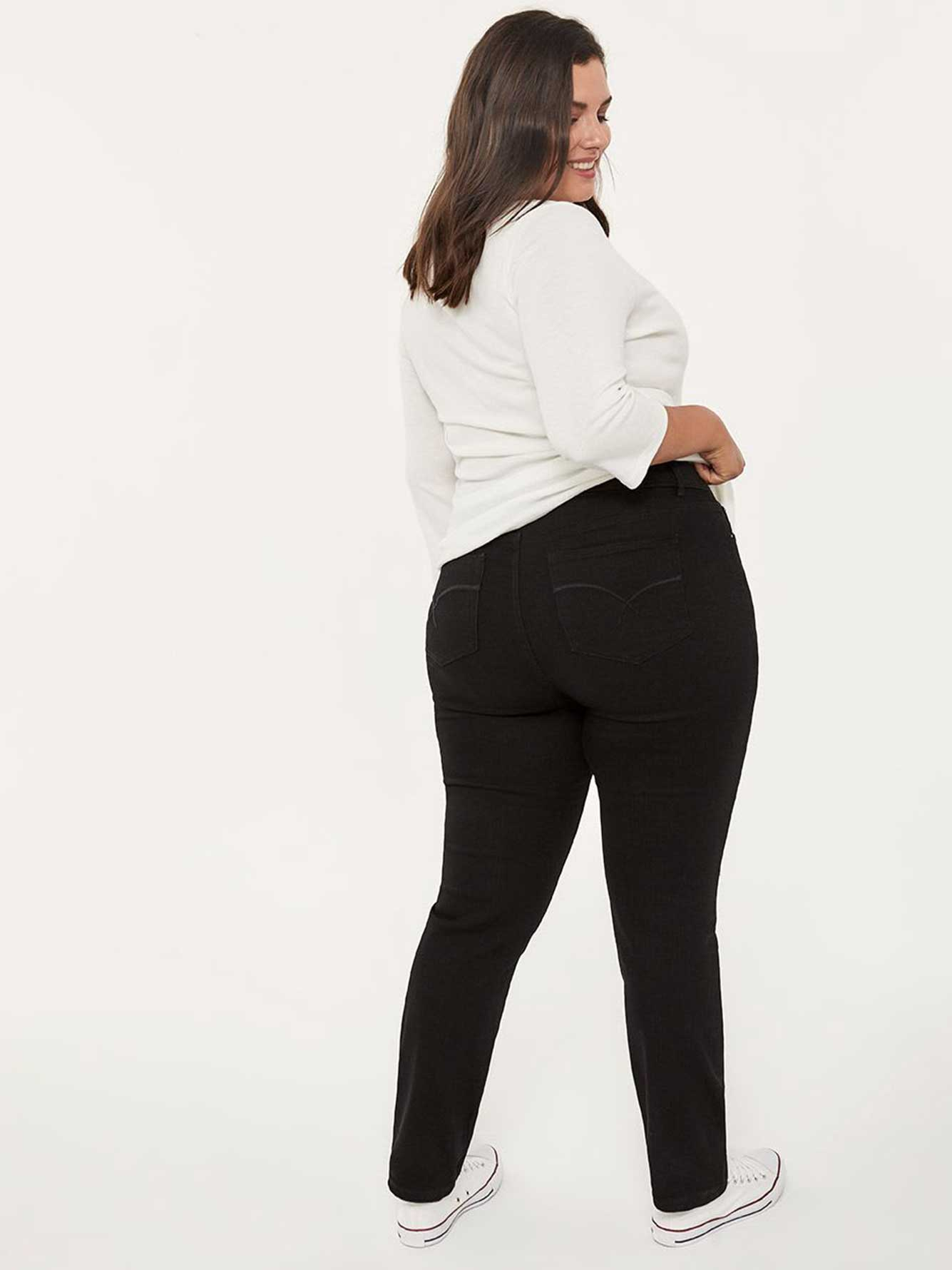 ONLINE ONLY - Tall Slightly Curvy Fit Straight Leg Black Jean - d/C JEANS