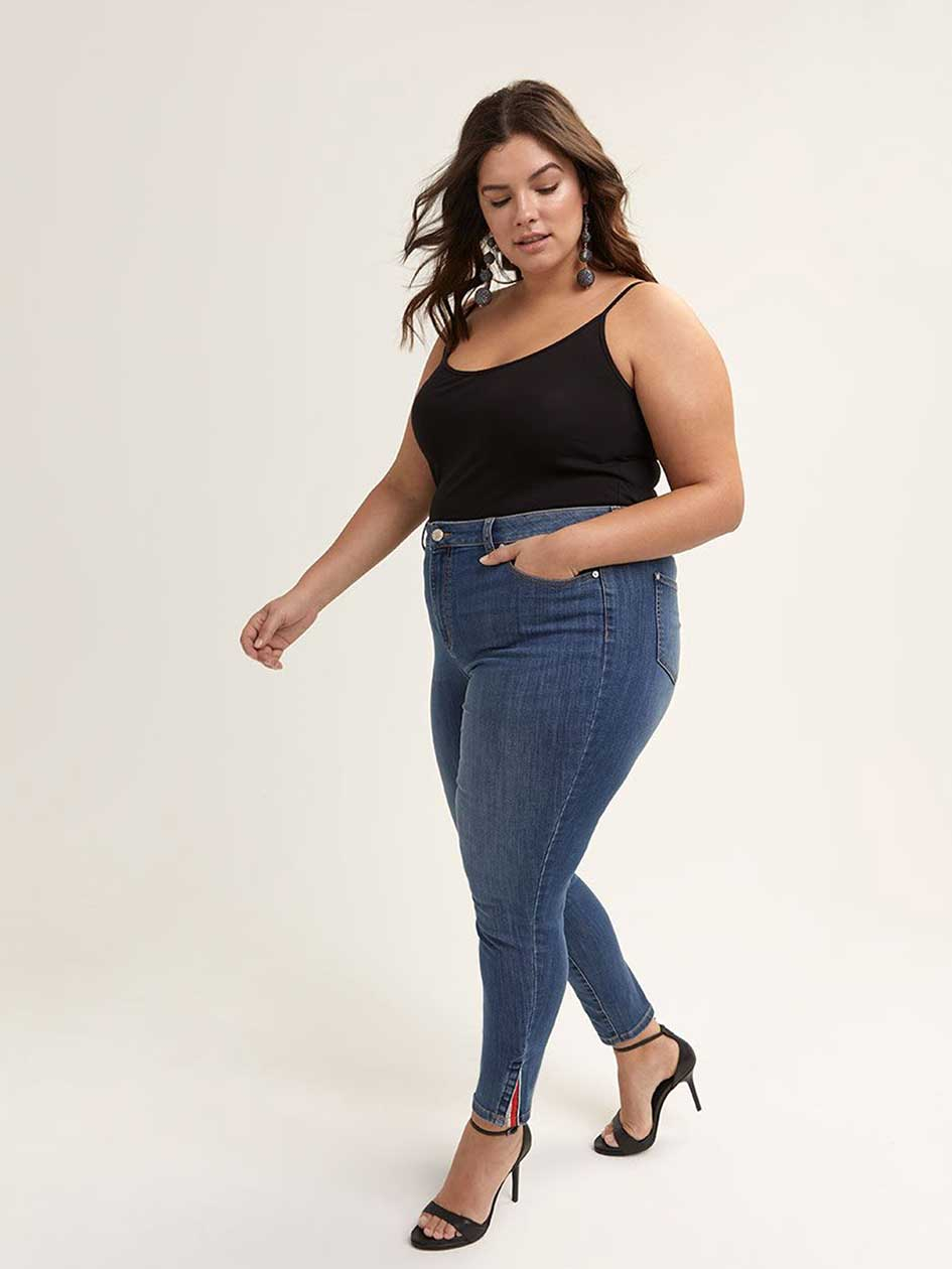 ONLINE ONLY - Tall Slightly Curvy Skinny Leg Jean with Ankle Slit - d/C JEANS