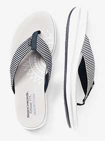ONLINE ONLY - Wide Width Stripped Thong Sandals - Skechers