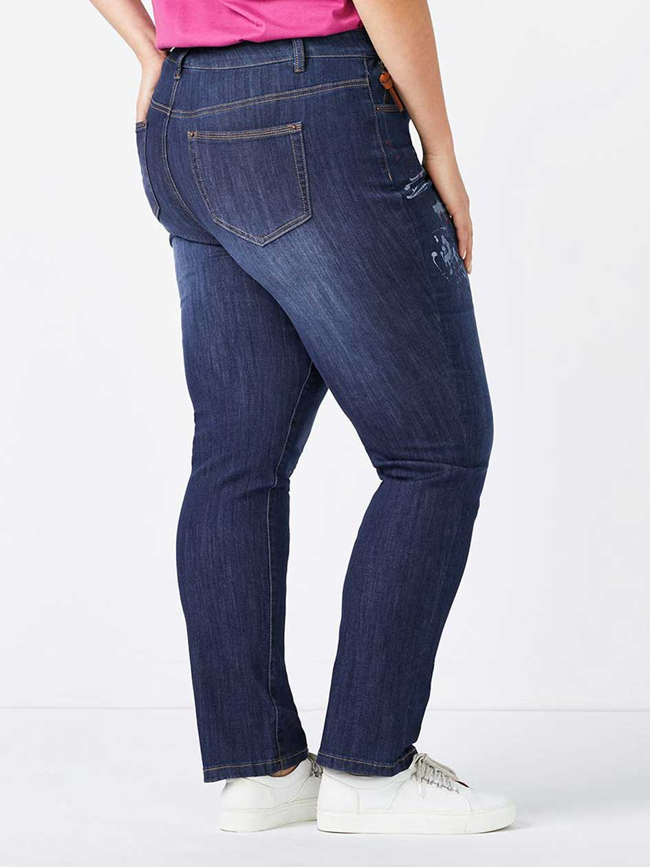 d/c JEANS - Slightly Curvy Fit Straight Leg Jean with Paint