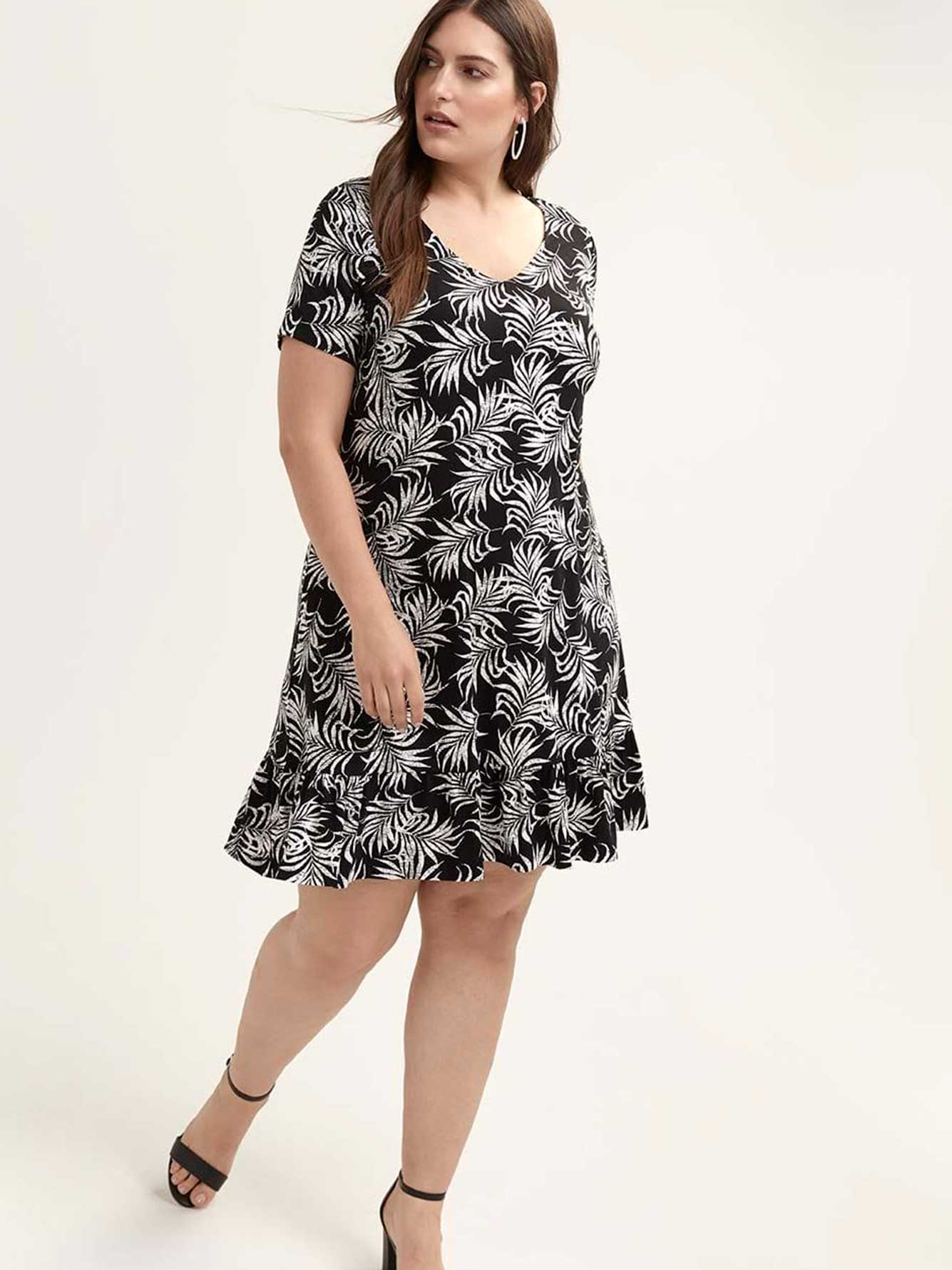Printed Swing Dress with Bottom Flounce - In Every Story