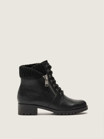 Flipped Collar Lace-Up Combat Booties - Addition Elle