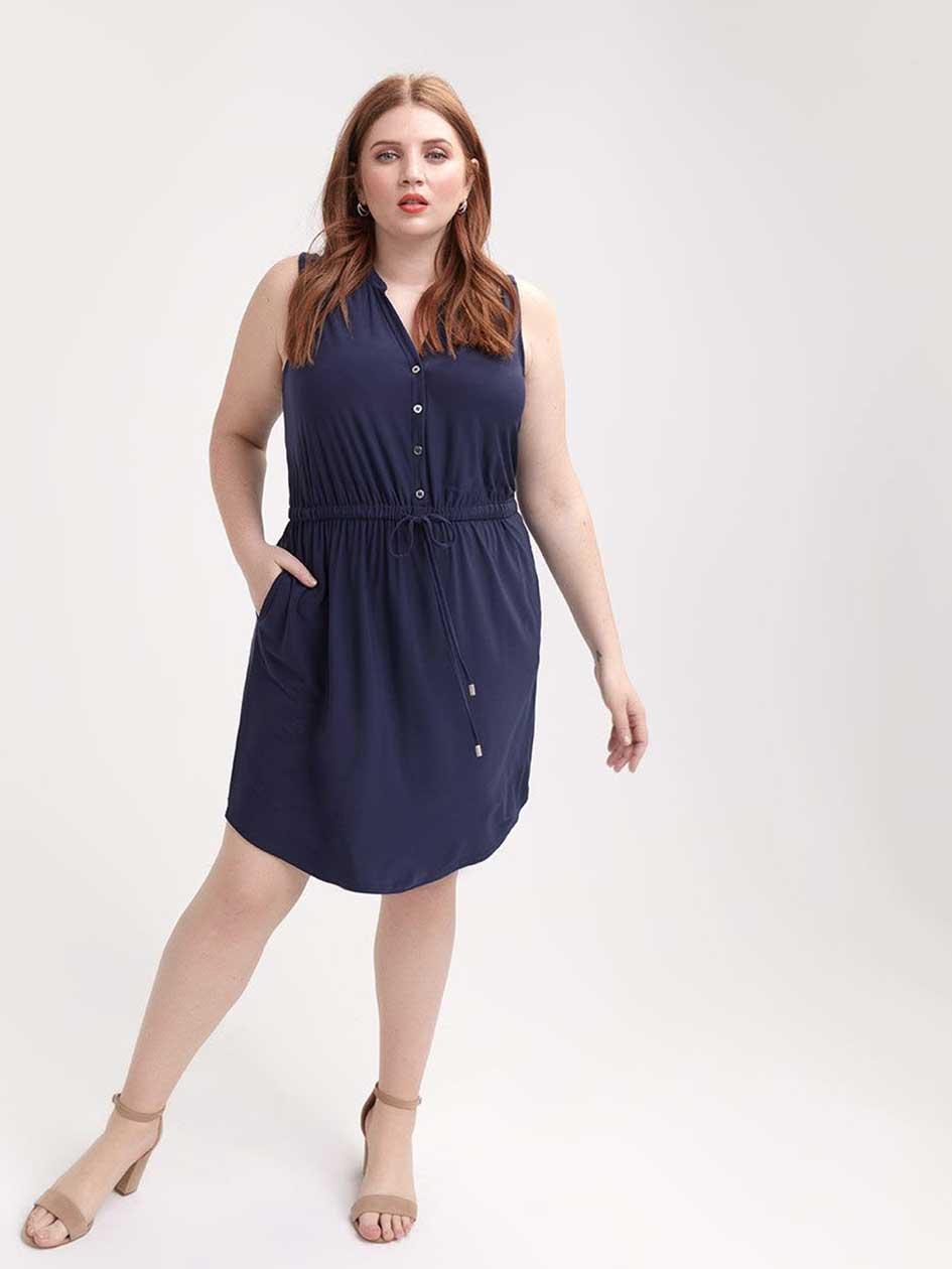 67f20637d4 Sleeveless Navy Shirt Dress