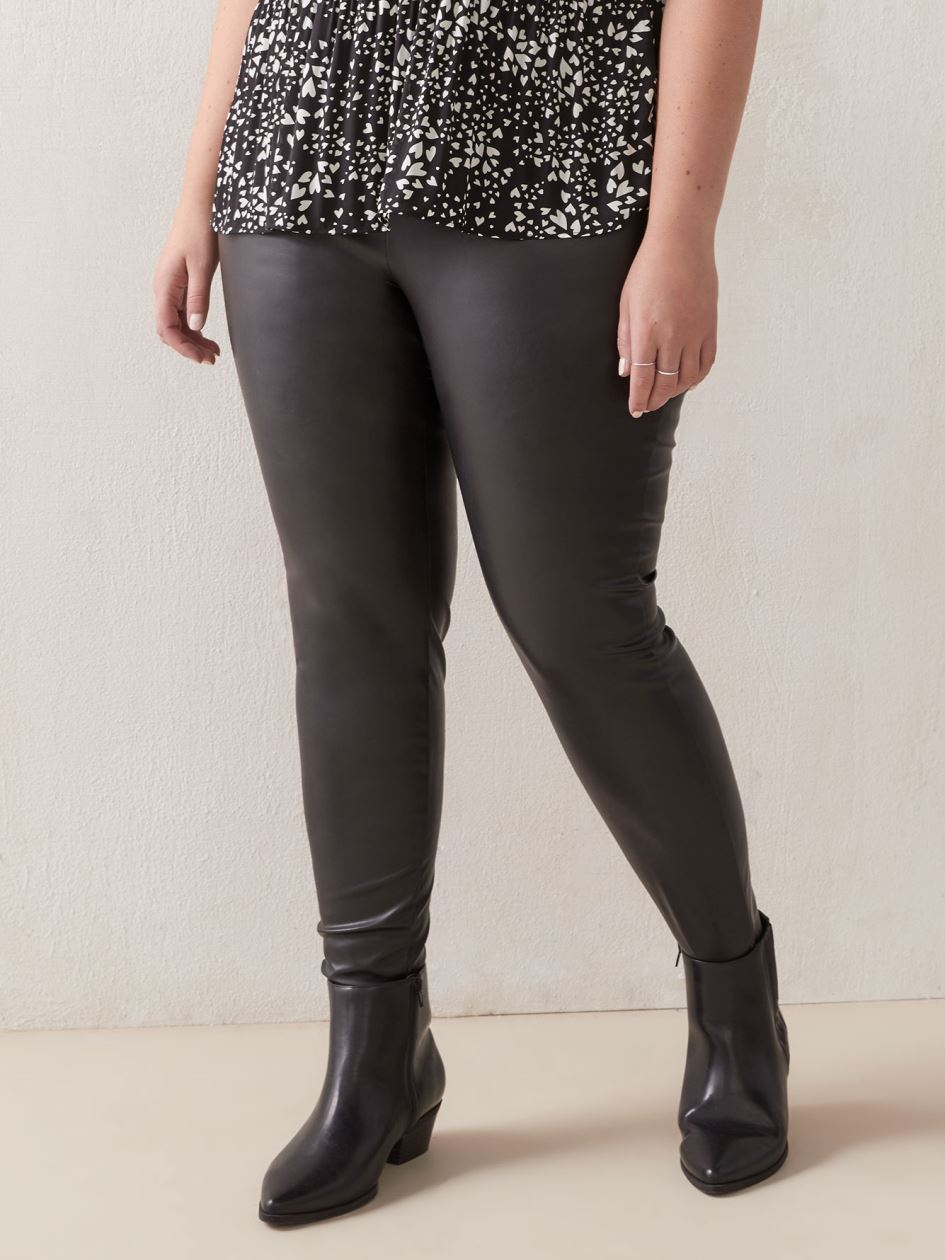 Faux Leather Leggings with Wide Waistband - Addition Elle