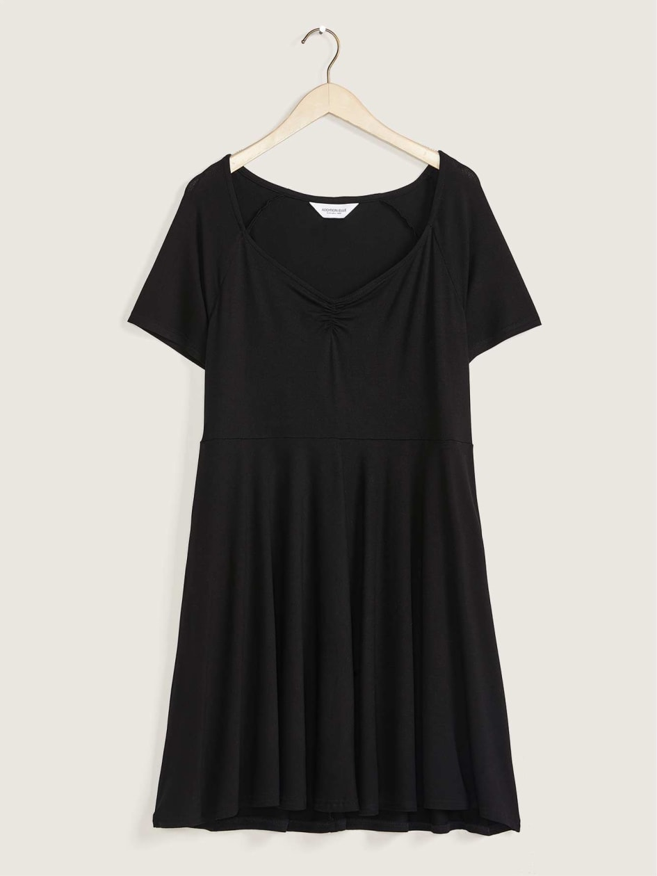 Short-Sleeve Dress With Sweetheart Neckline - Addition Elle