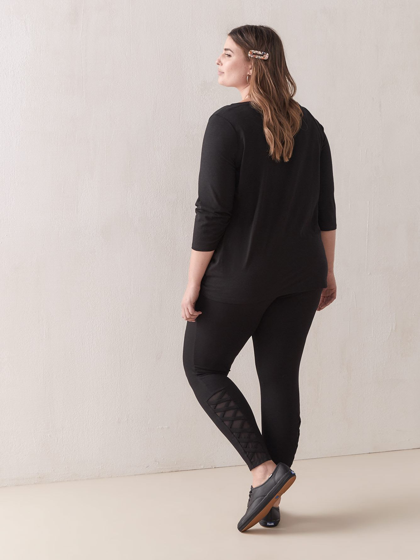 Leggings with Mesh Inserts and Lacing Detail - Addition Elle