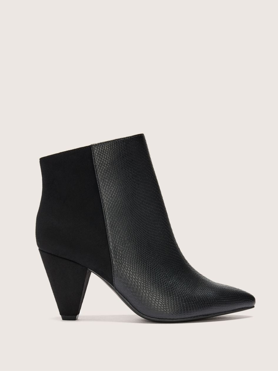 Wide Mix Media Pointed Toe Bootie - Addition Elle