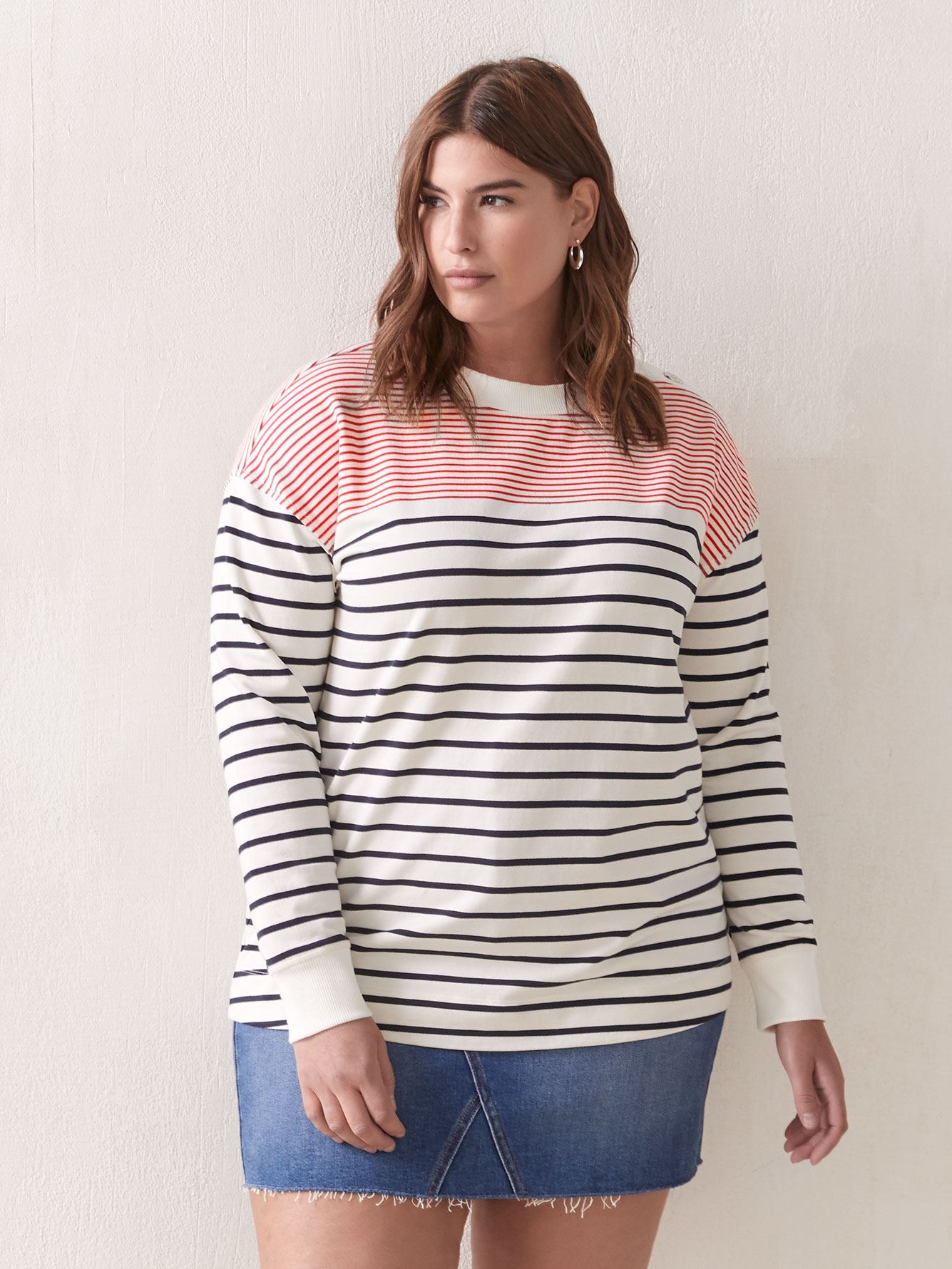 Striped Long Sleeve Top with Shoulder Buttons - Addition Elle
