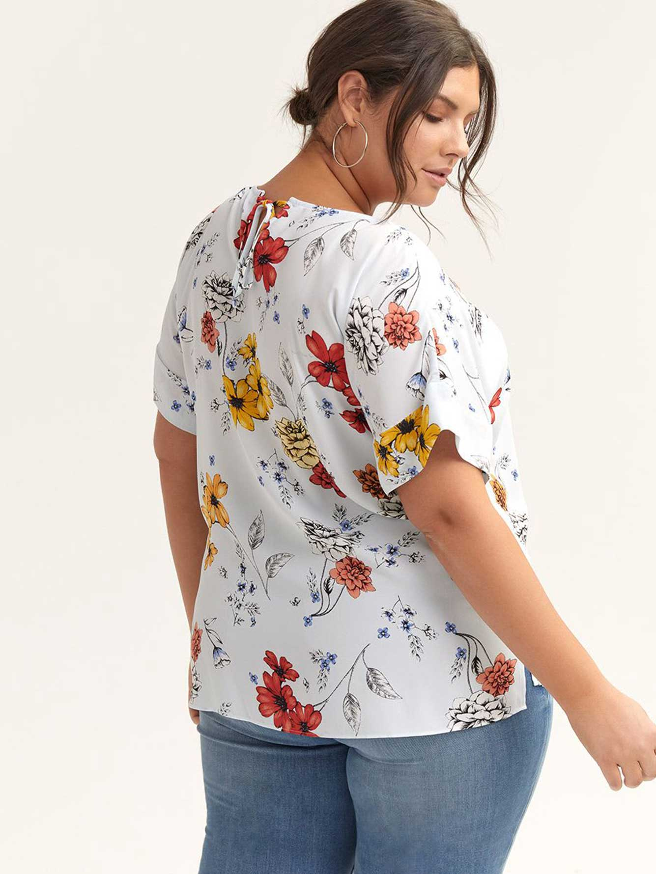 Short Sleeve Printed Blouse with Back Keyhole - In Every Story