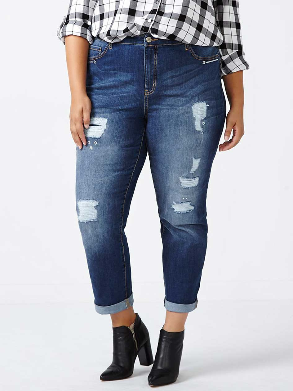 ONLINE ONLY - Tall Slightly Curvy Fit Distressed Girlfriend Jean - d/c JEANS