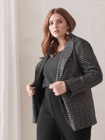 Jacquard Glen Plaid Blazer - Addition Elle
