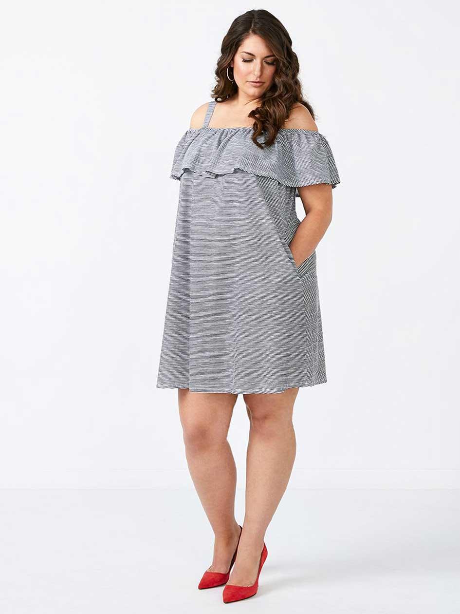 Striped Ruffled Trim Off Shoulder Dress