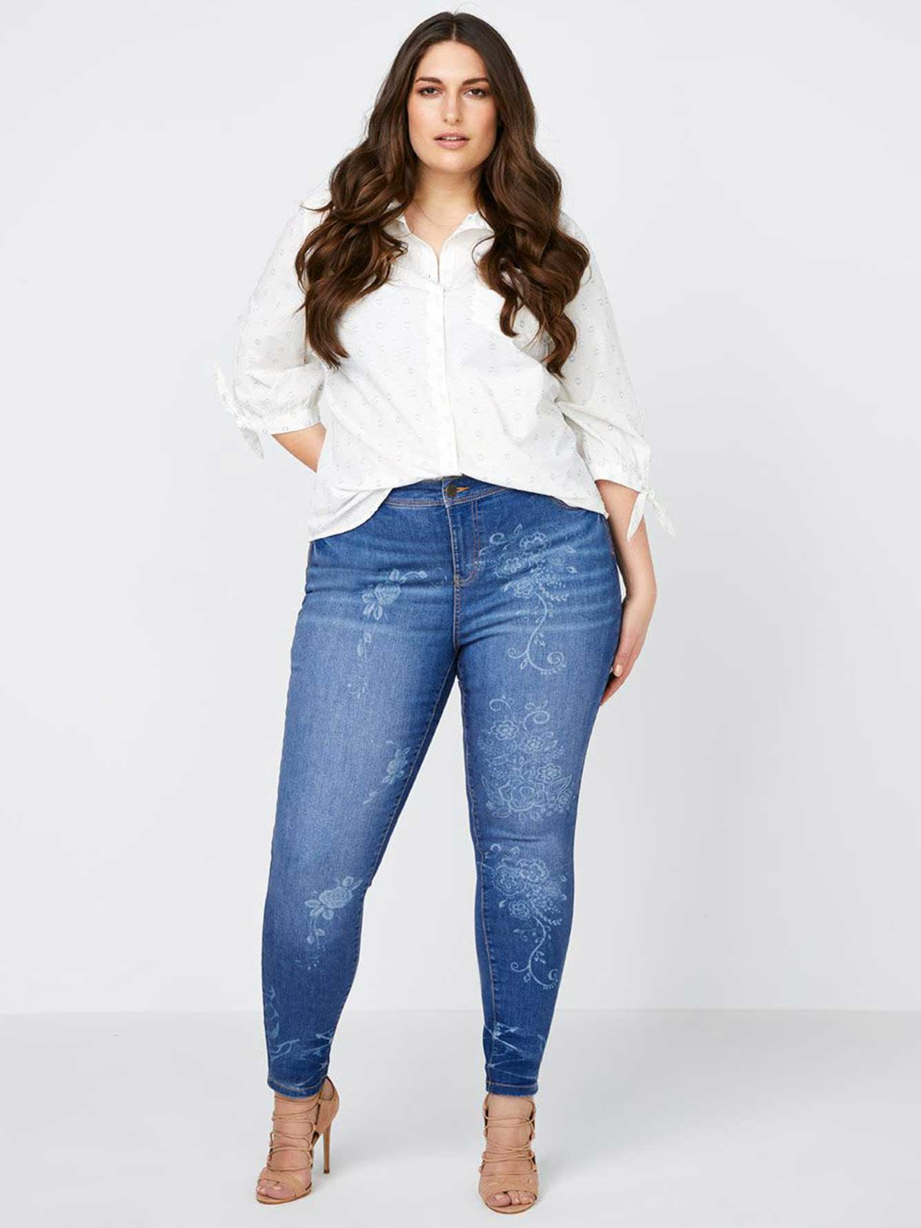 Straight Fit Skinny Leg Jean with Lazer Print - d/C JEANS
