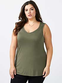 Girlfriend Fit Ruched Straps Tank Top - In Every Story