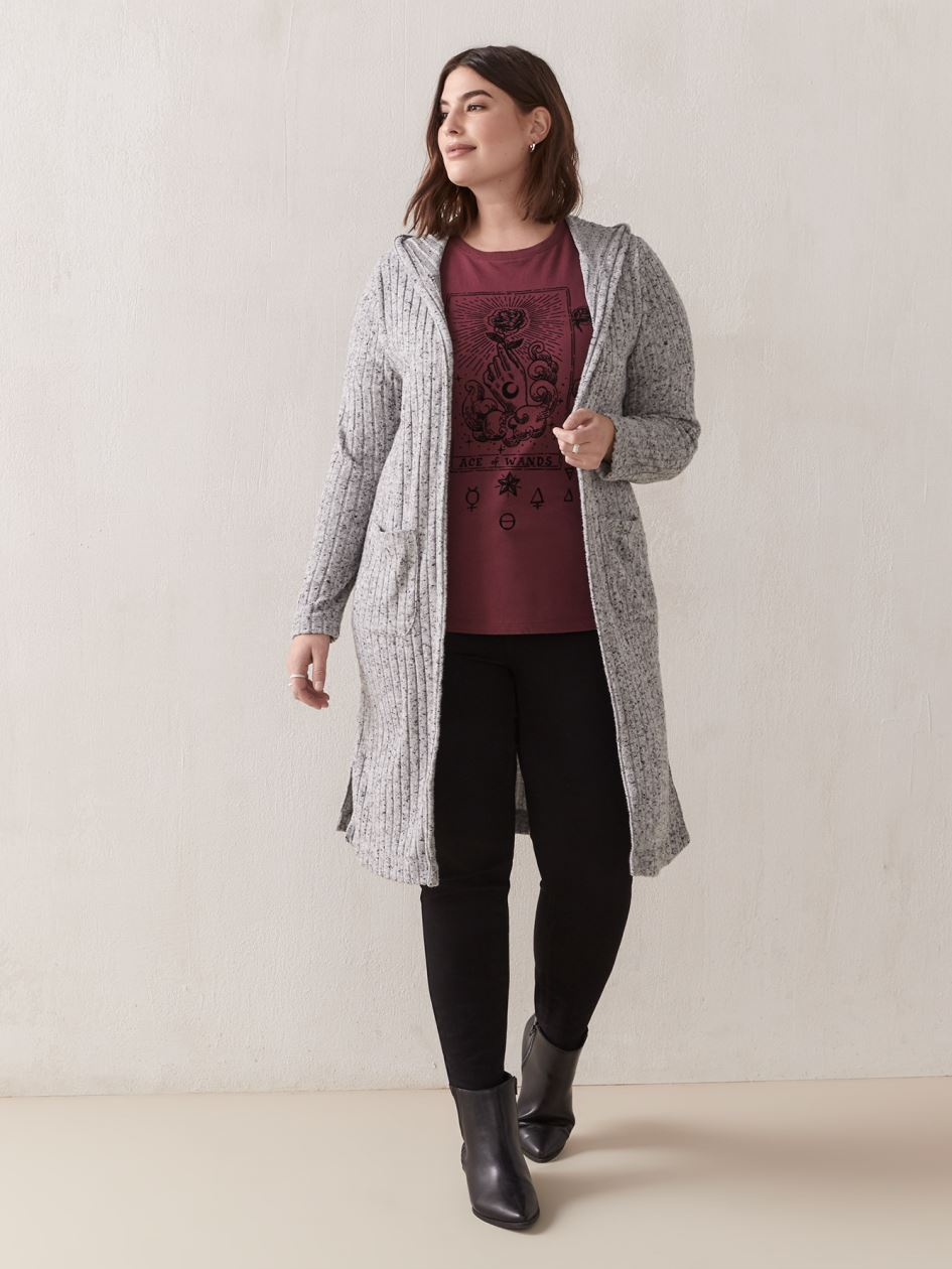 Hooded Long-Sleeve Cardigan - Addition Elle