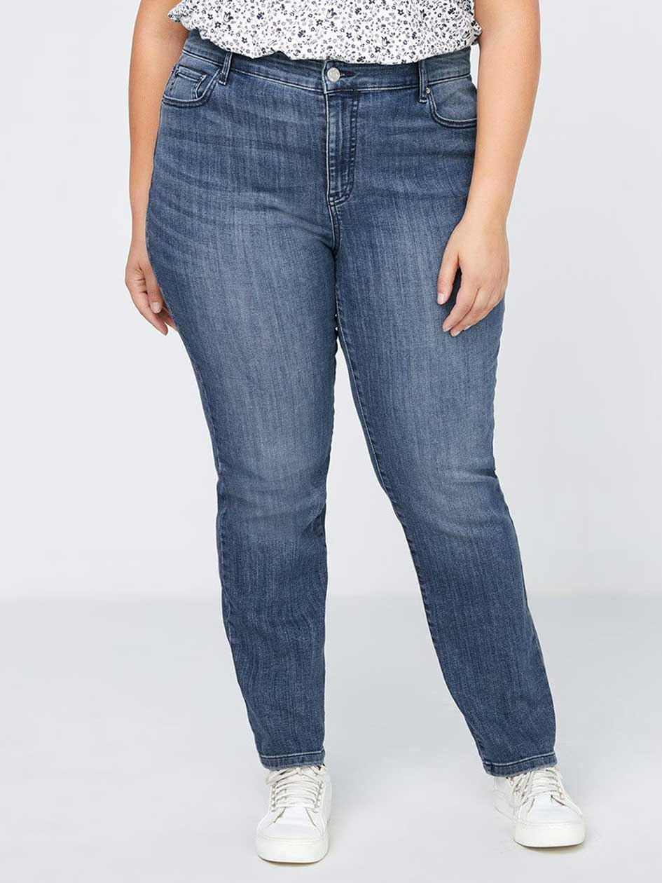 ONLINE ONLY - TALL Slightly Curvy Fit Straight Leg Jean with Embroidery - d/C JEANS