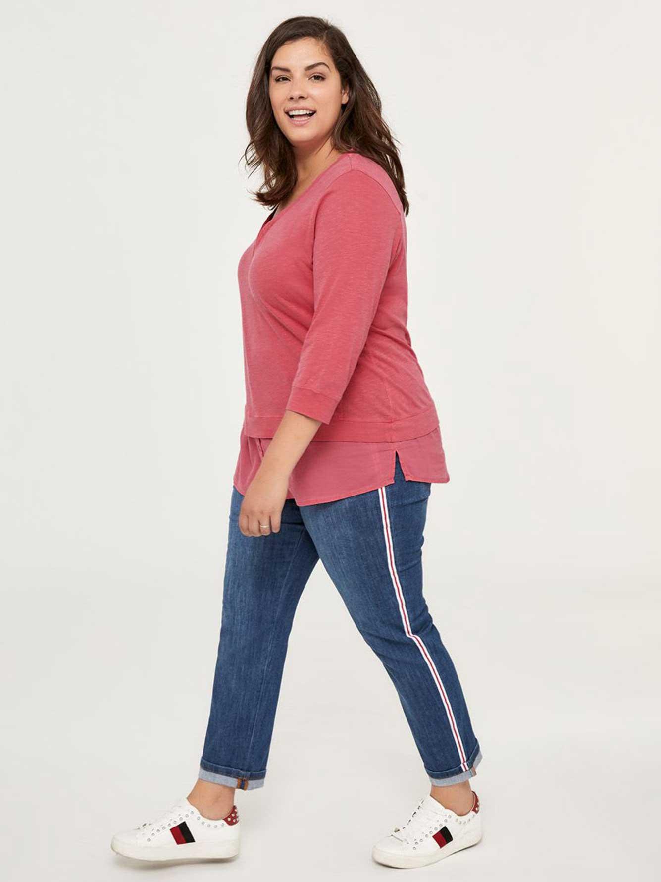 3 4 Printed Cotton Top With Split Neck D C Jeans Penningtons I Am Sleeveless Romper Blue Sea
