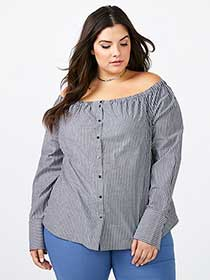 Striped Off Shoulder Blouse - In Every Story