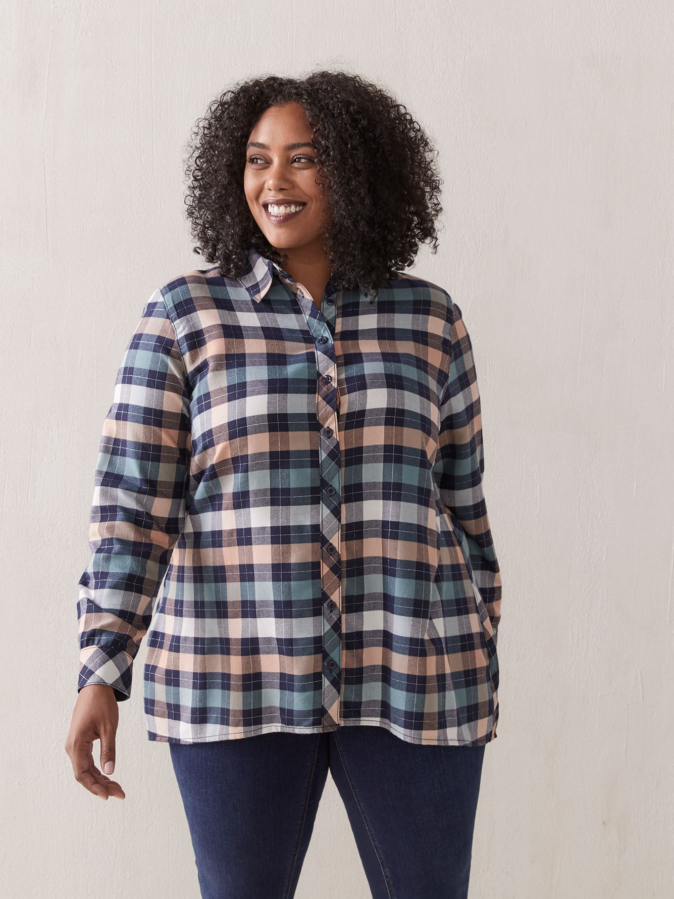 Flowy Plaid Tunic Blouse - In Every Story