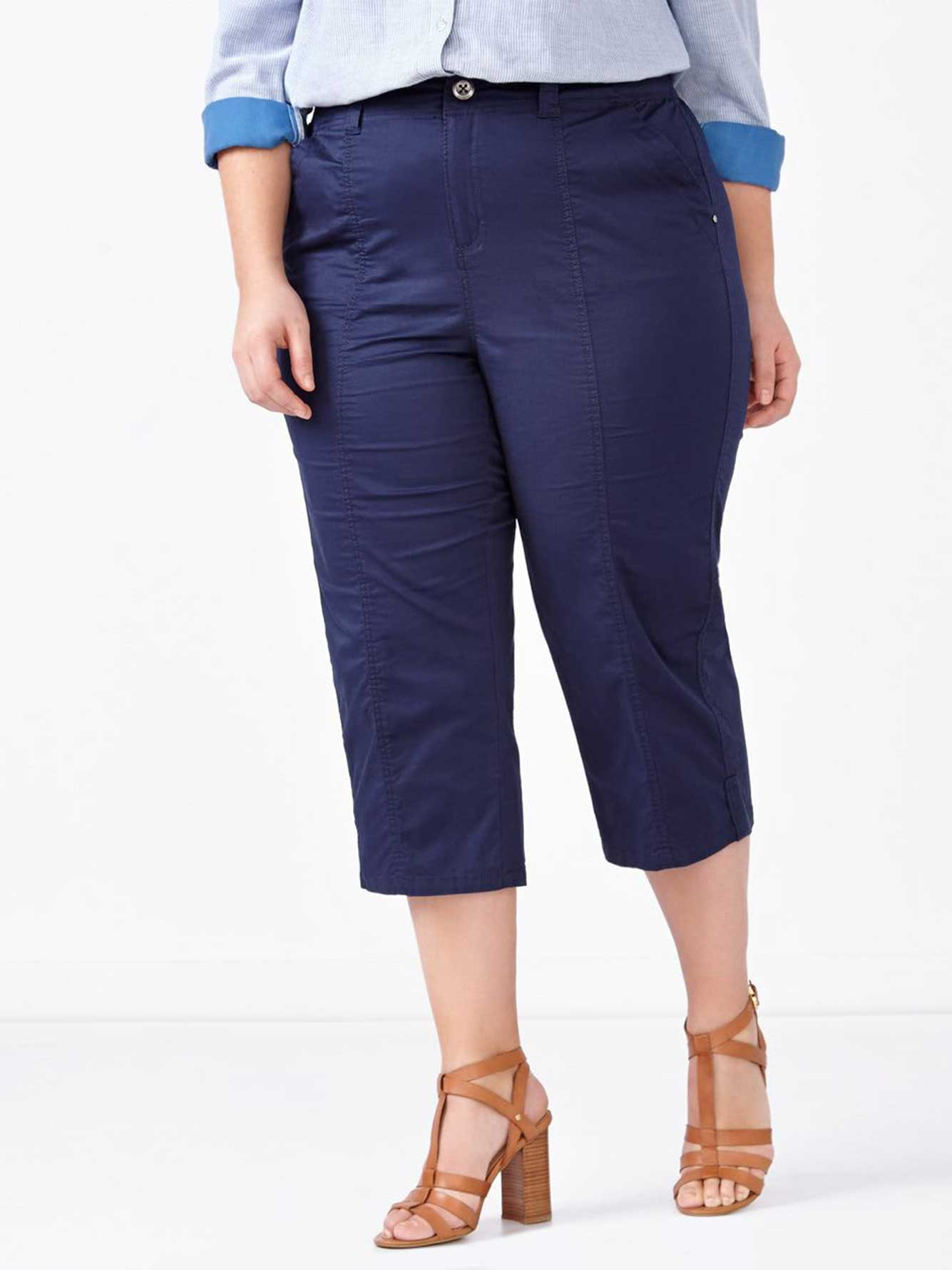 fashion design good texture wide range d/c JEANS Slightly Curvy Fit Straight Leg Capri | Penningtons