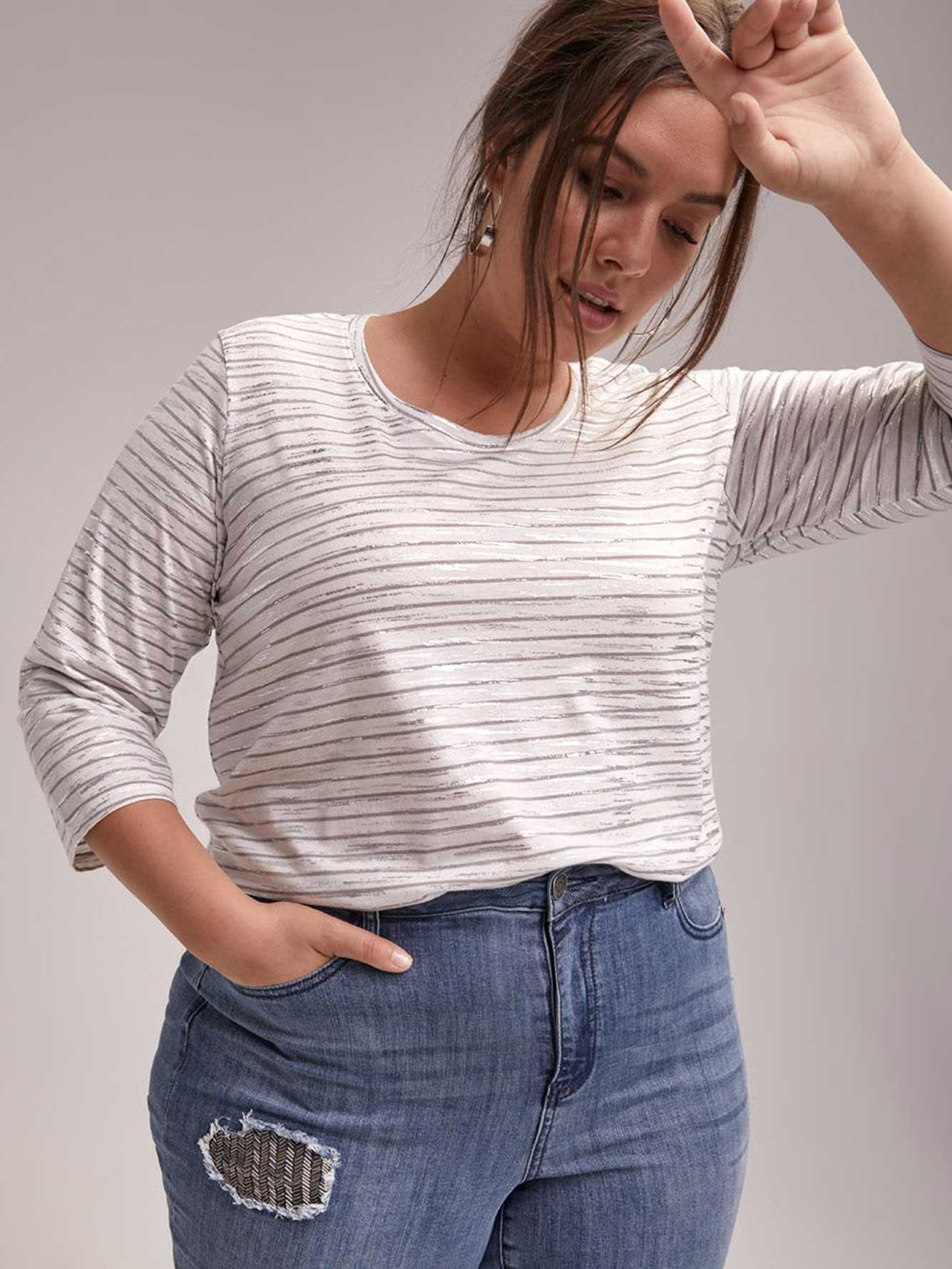 Striped 3/4 Sleeve Girlfriend Fit Top - d/C JEANS