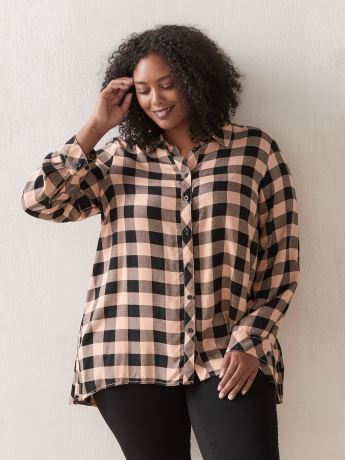 Long Sleeve Plaid Tunic Blouse - In Every Story