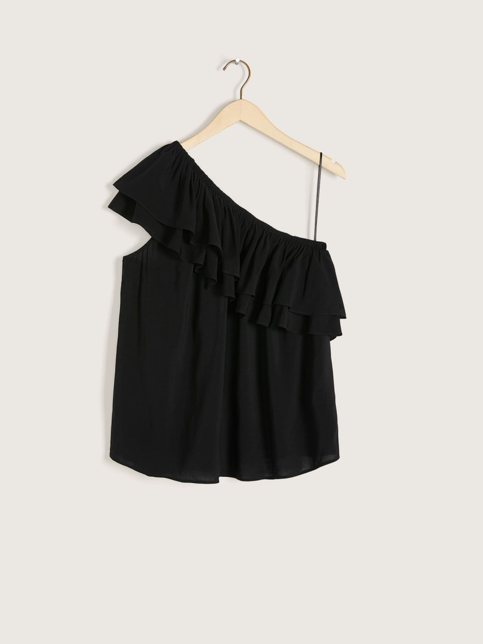 Solid One Shoulder Flounce Blouse - Love & Legend