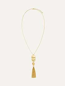 Long Hammered Necklace with Tassel