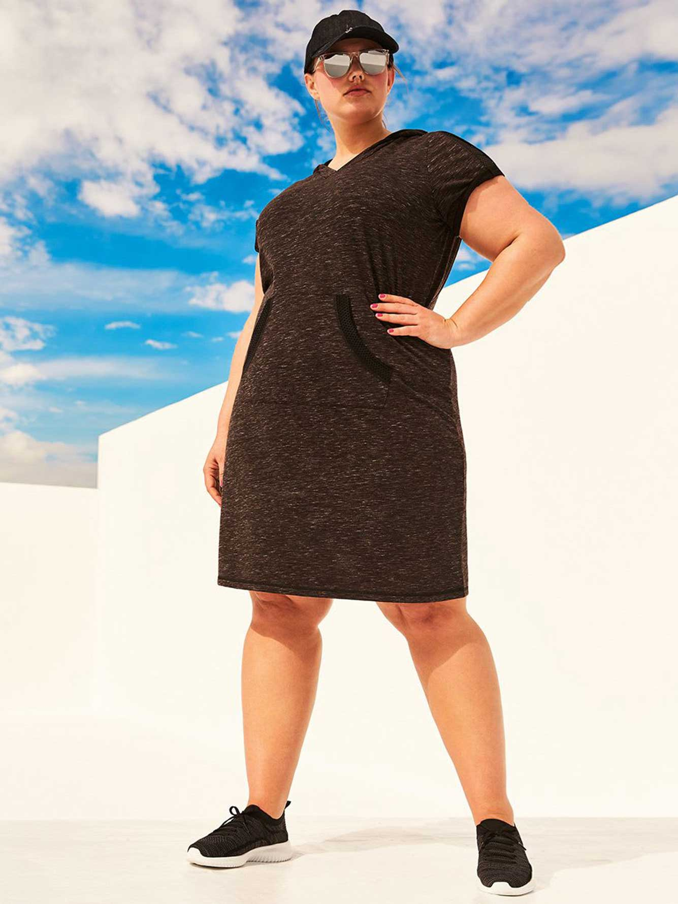 Hooded Dress with Mesh Detail - Athleisure
