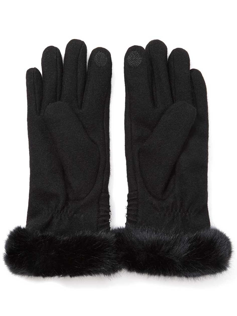 Gloves with Faux Fur and Beads