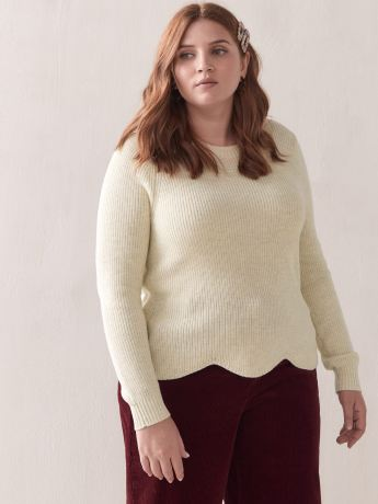 Scallop-Hem Cropped Lurex Sweater - Addition Elle