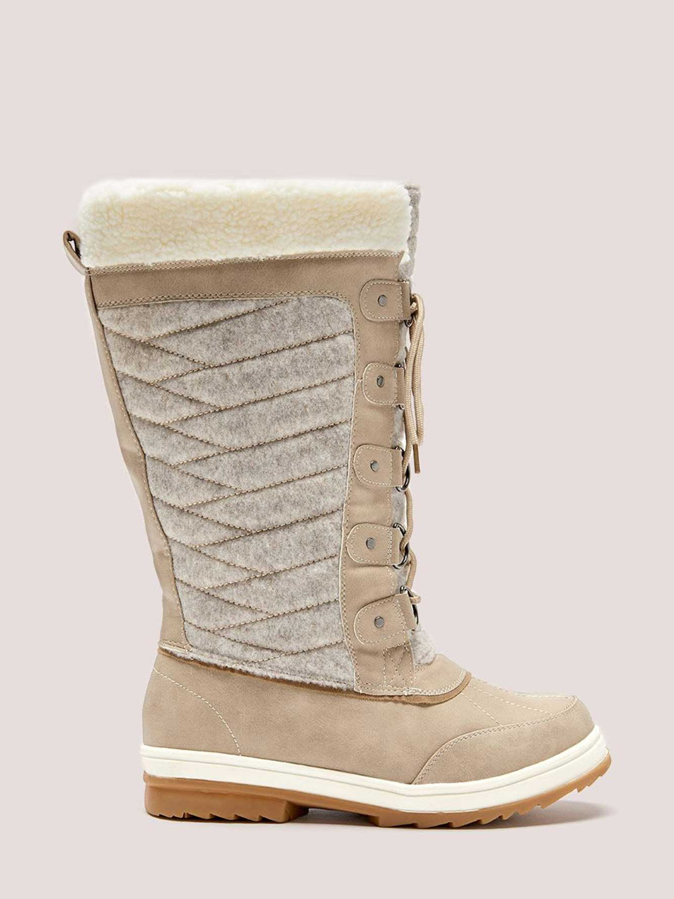 ffbb0cf9d7f Wide Calf Faux-Suede Winter Boot