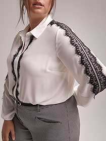 Long Sleeve Button-Down Blouse with Lace - In Every Story