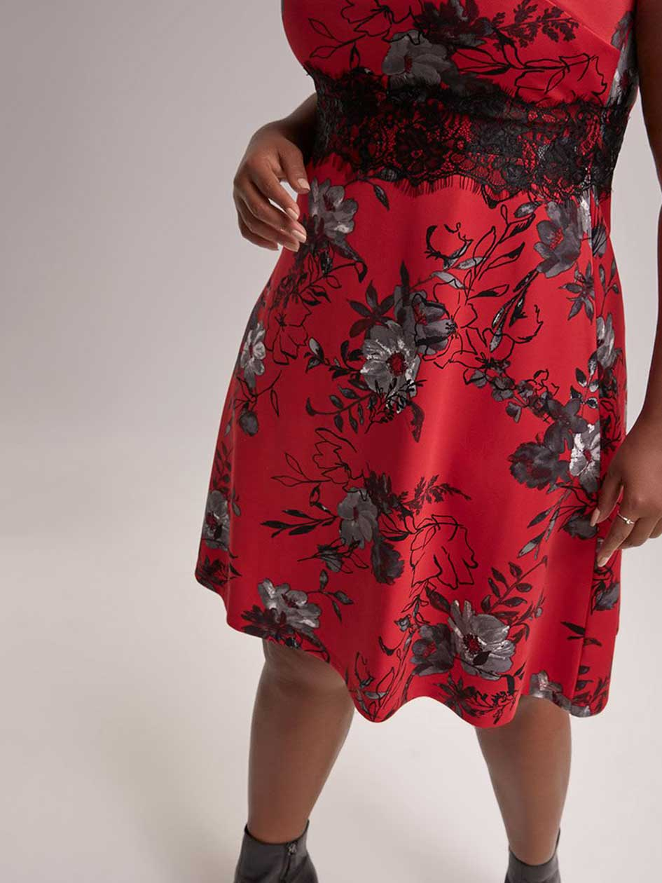 Printed Fit and Flare Dress with Lace - In Every Story