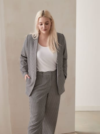 Houndstooth Shawl Collar Blazer - Addition Elle