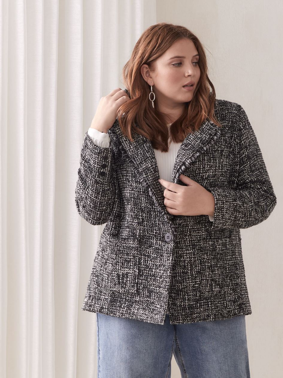 Black & White Tweed Blazer - Addition Elle