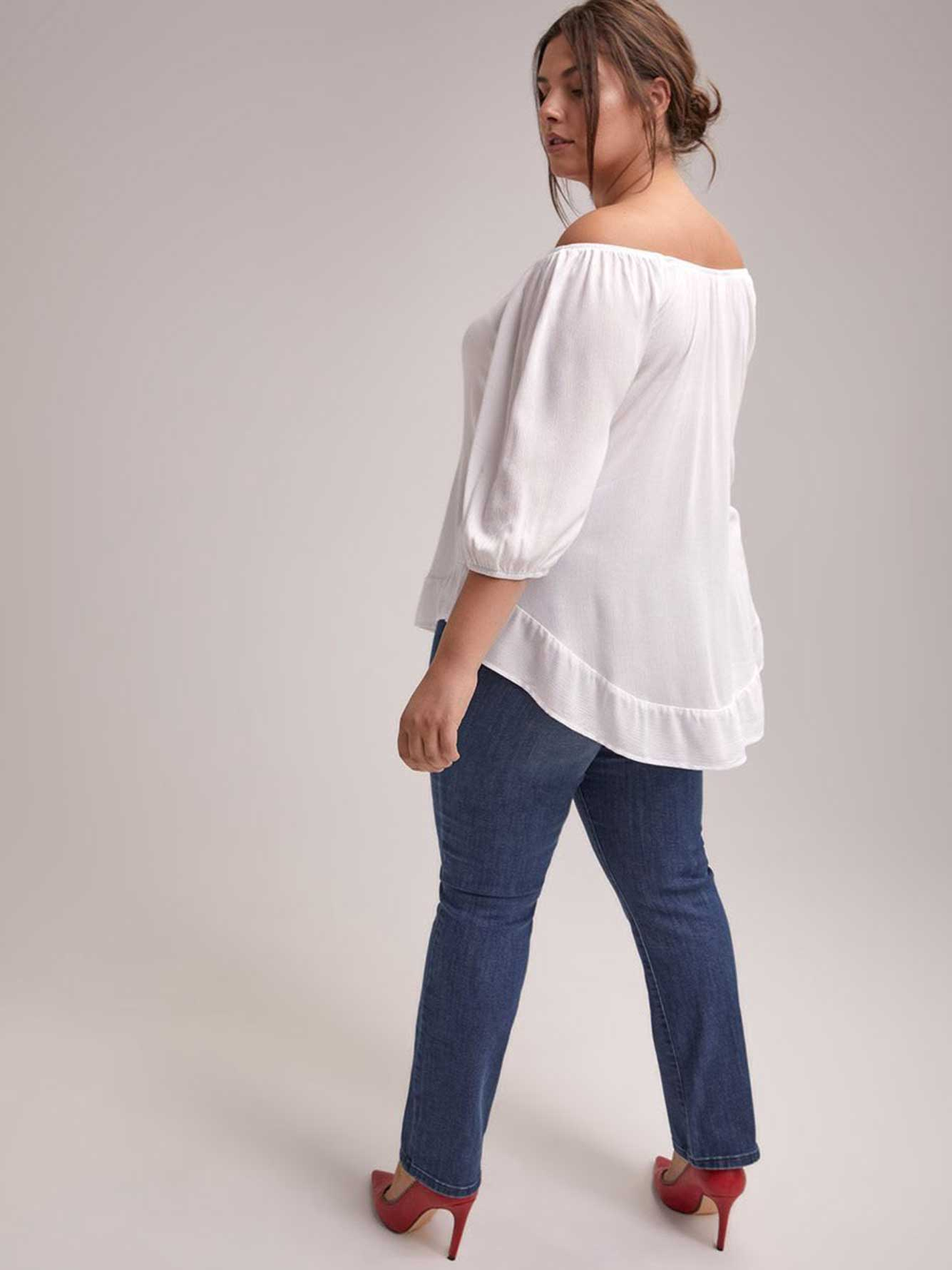 3/4 Balloon Sleeve Off-Shoulder Blouse - d/C JEANS