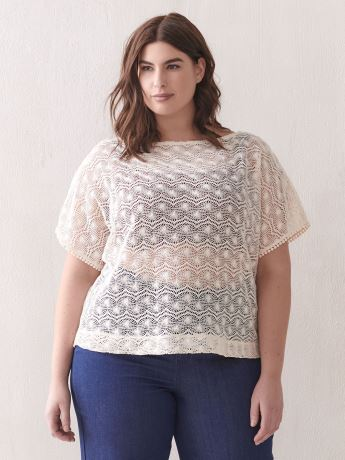 Boat-Neck Top with Crochet Details - Addition Elle