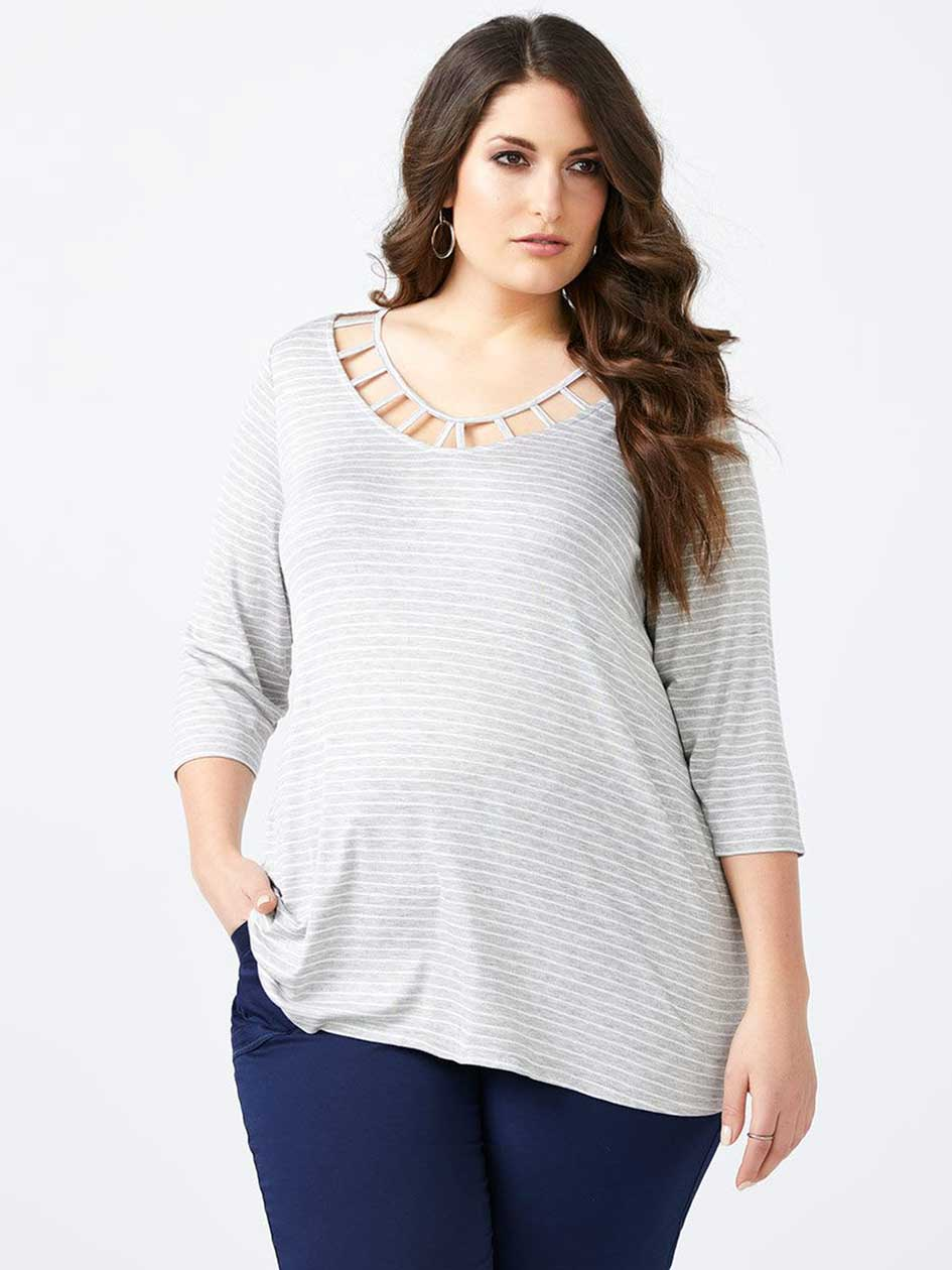 Striped Top with Neckline Detail - d/C JEANS