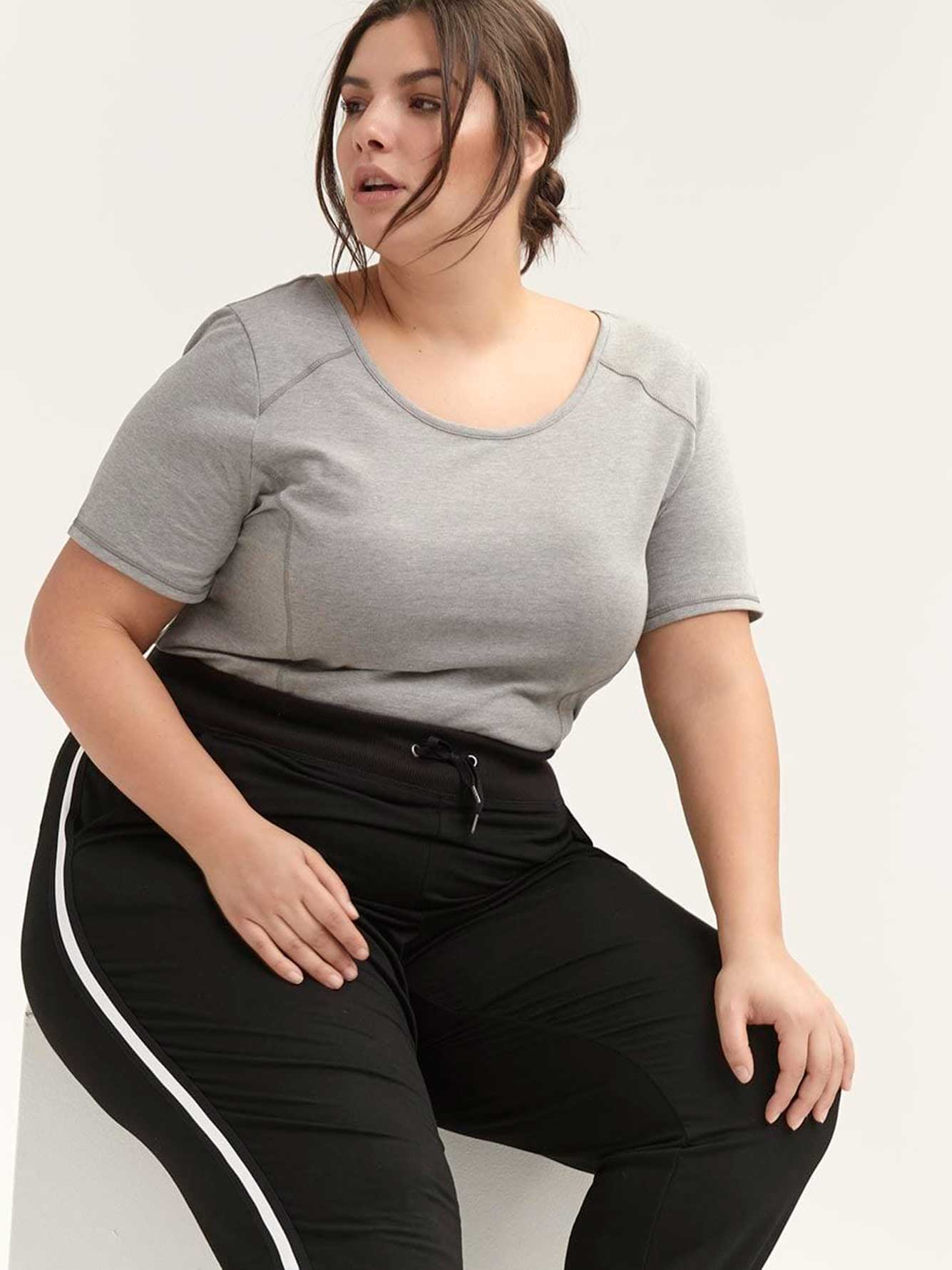 a9ee7308aa8 Plus Size T-Shirt with Criss-Cross Details - ActiveZone