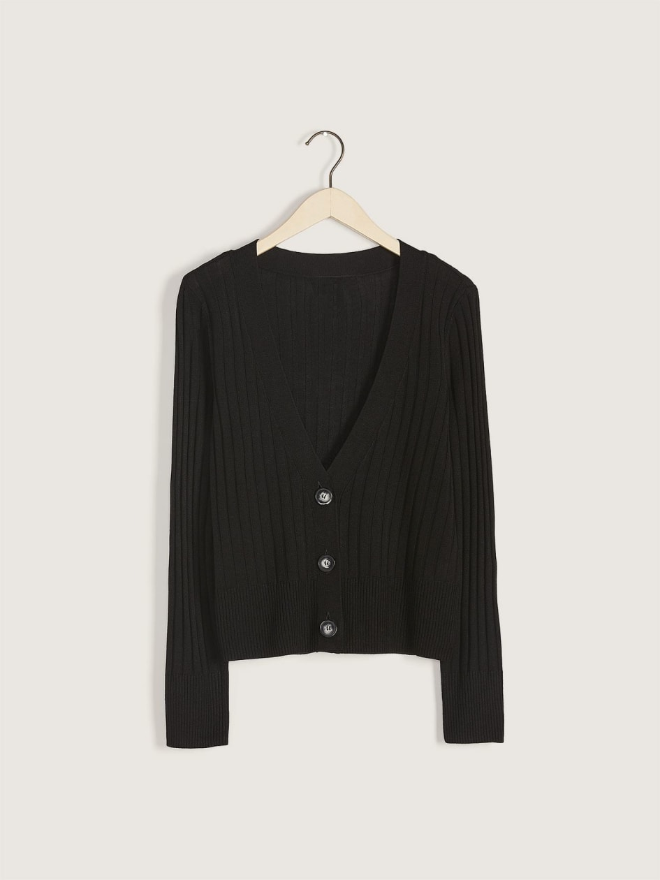Button-Front Ribbed Cardigan - Addition Elle