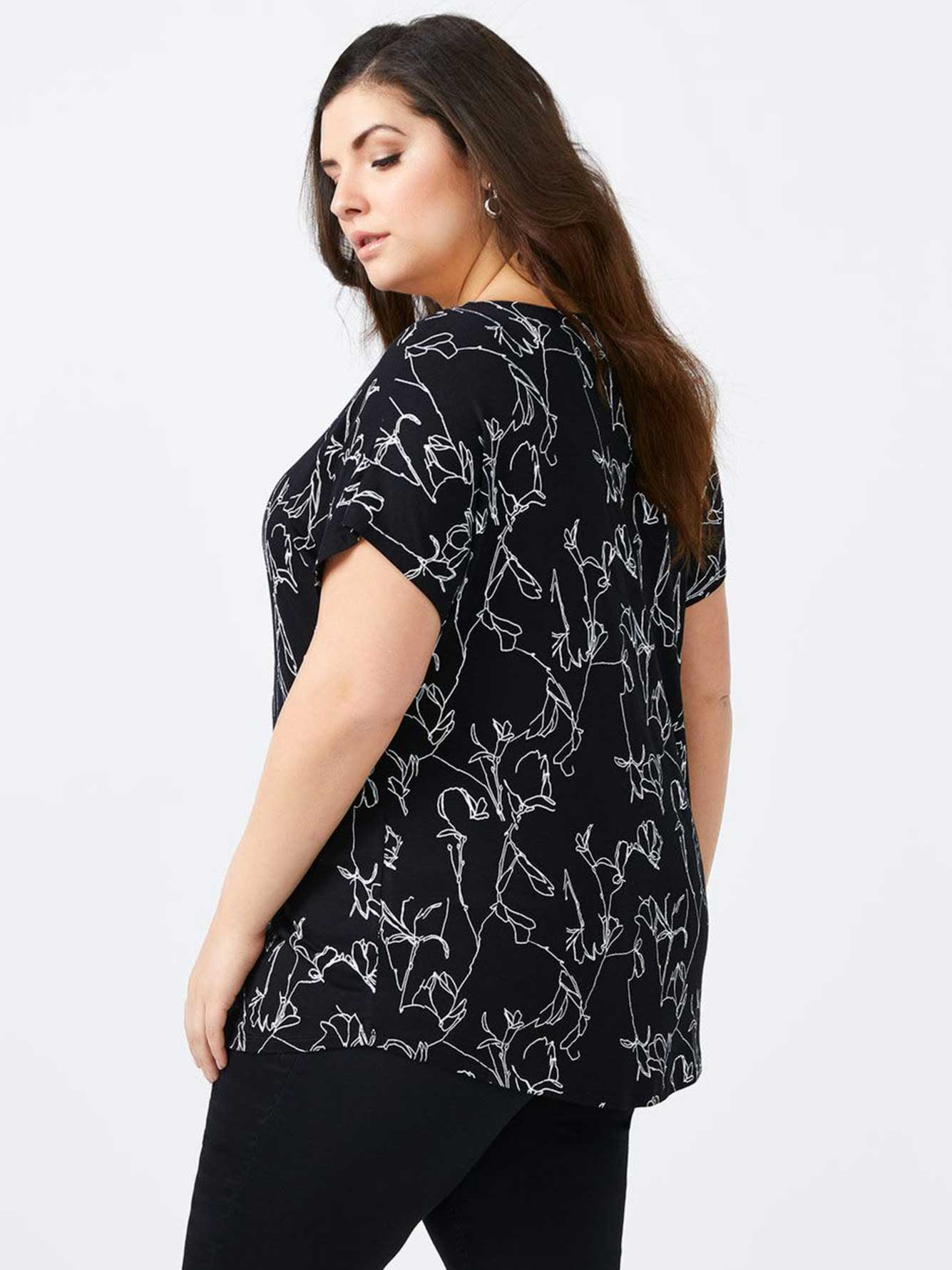 Printed Top with Criss-Cross Detail - In Every Story