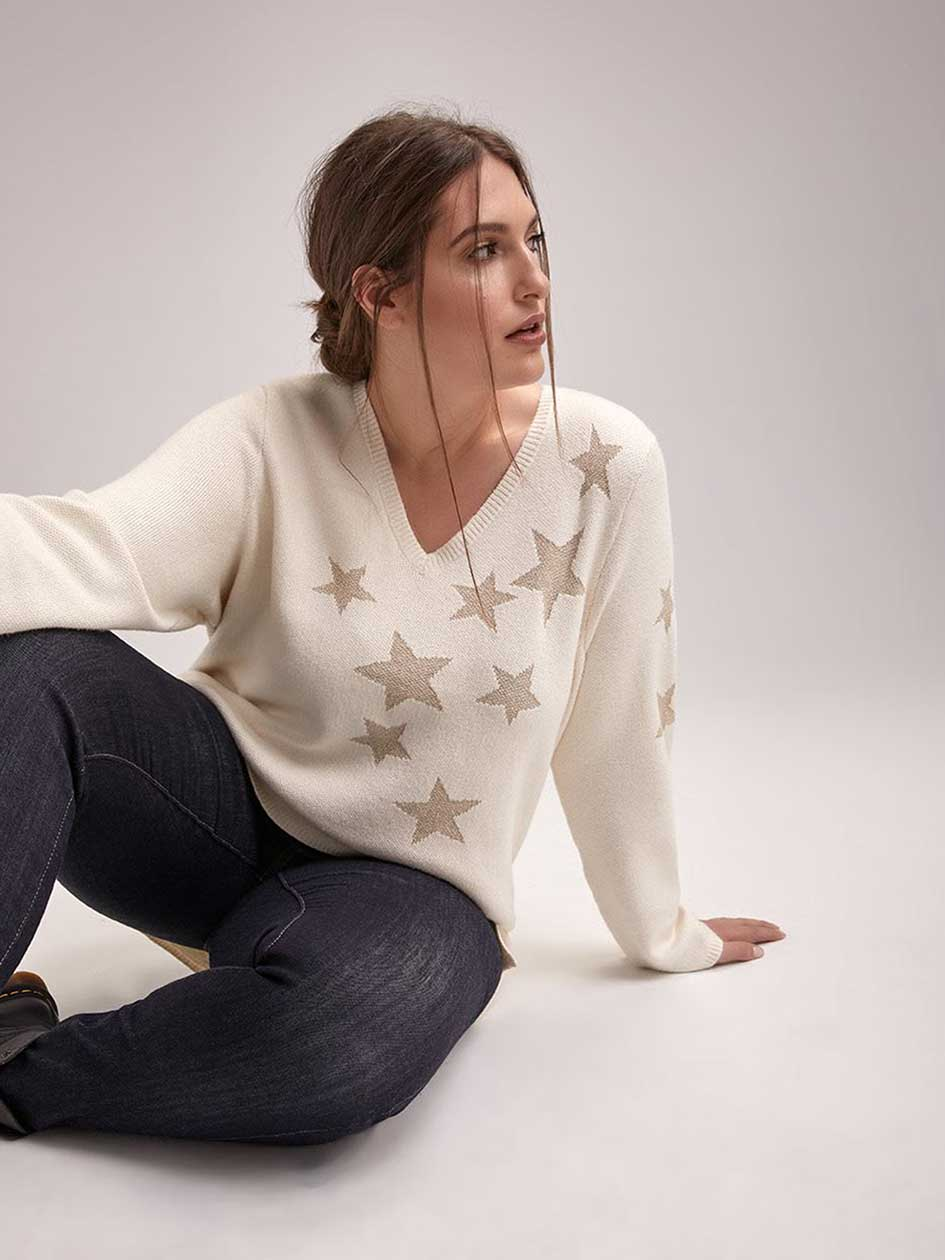 Long Sleeve Sweater with Lurex Stars - d/C JEANS