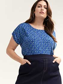 Printed Top with Dolman Sleeves - d/C JEANS