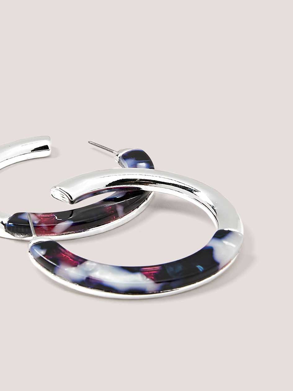 Transparent Hoop Earrings with Resin Detail