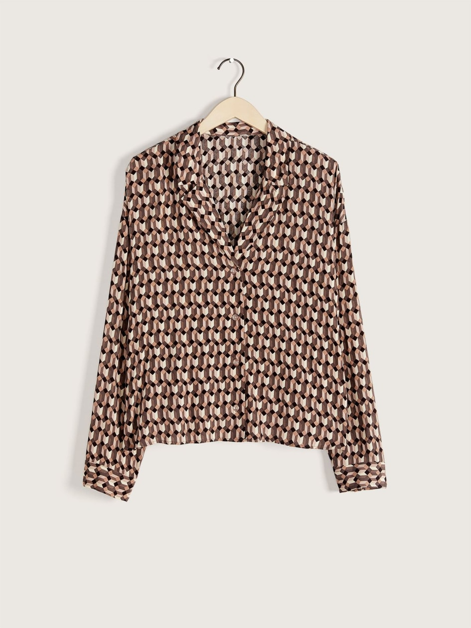 Cropped Buttoned Blouse - Addition Elle