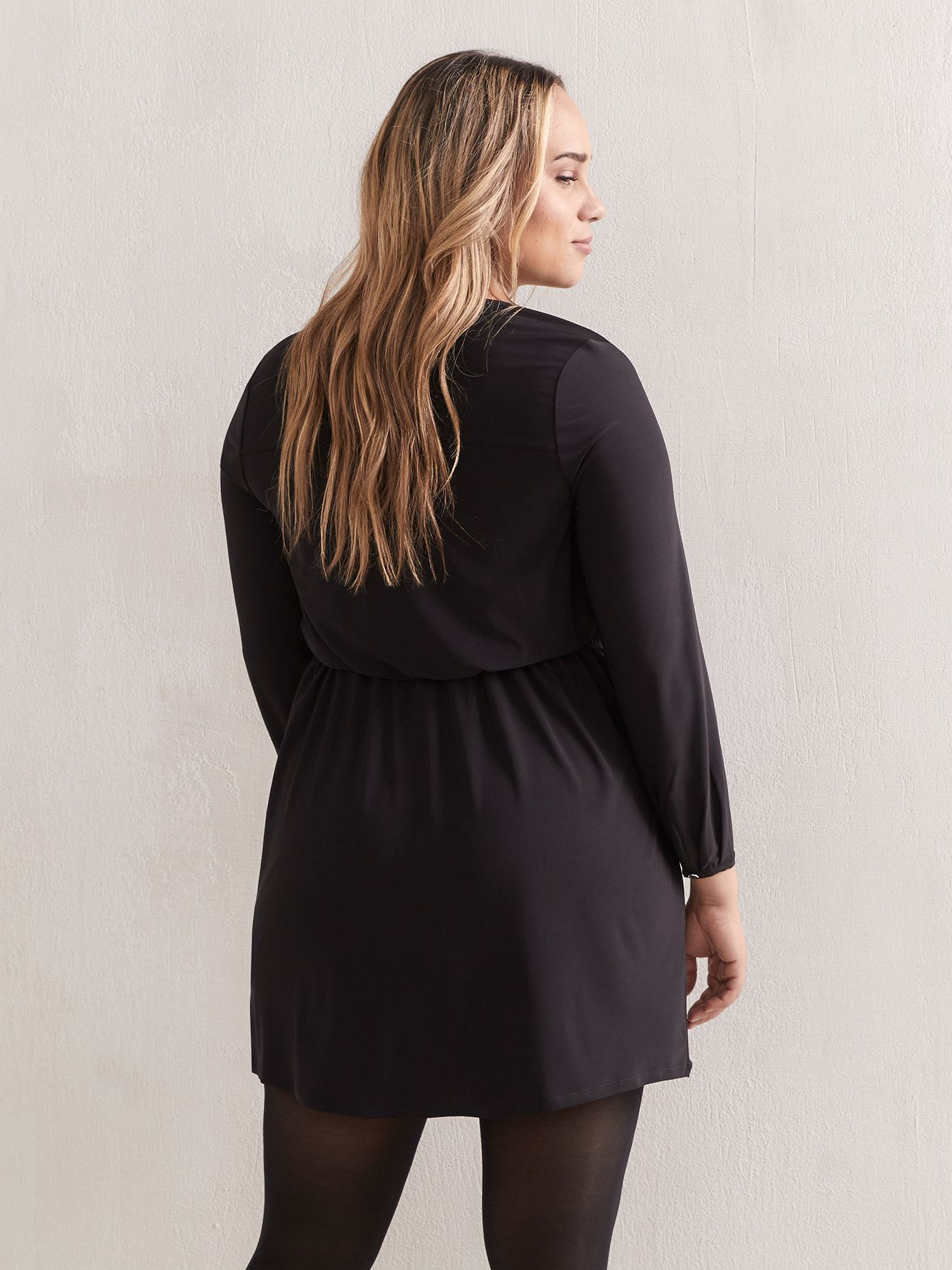 Solid Long Sleeve Fit & Flare Dress - Addition Elle