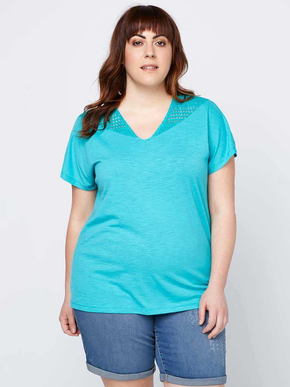 Curve Fit T-Shirt with Lace - d/C JEANS