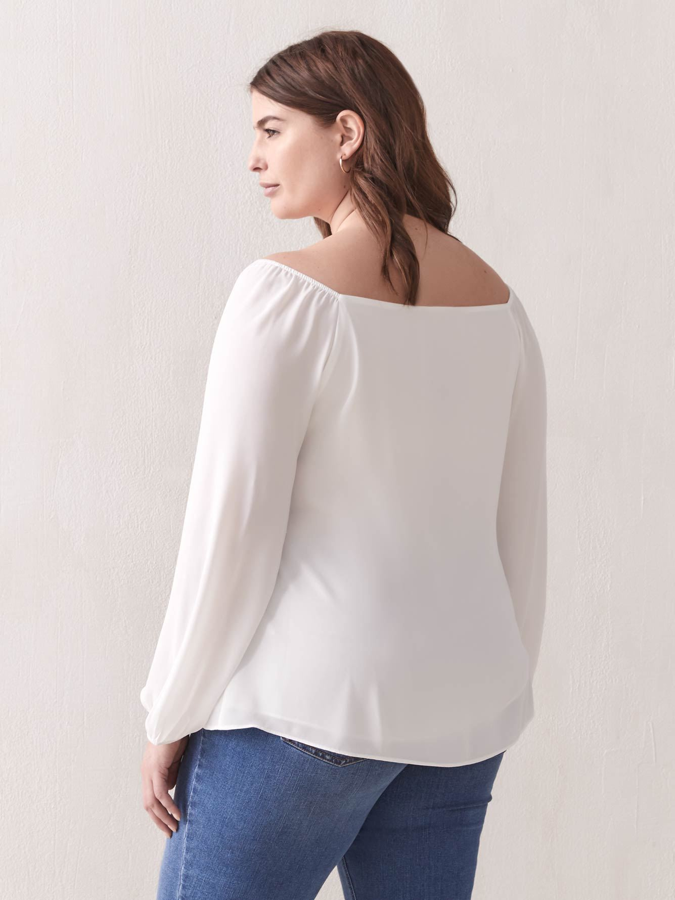 Square-Neck Balloon-Sleeve Blouse - Addition Elle